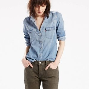 Levis Snap Front Chambray Western Shirt